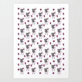 Sloth Llama Art Print