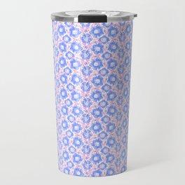 Pretty Spring Flowers , Pink & Lavender Blooms in a Jewel Tones Garden Pattern llustration Travel Mug