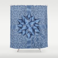 tote bag Shower Curtains featuring Winter Holiday Christmas Gift Wrapped Effect Tote Bag by Moonlake Designs