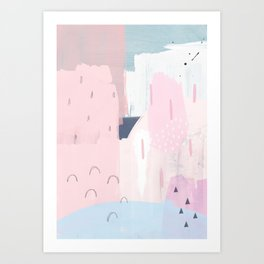 a3 abstract more pink on left with white Art Print