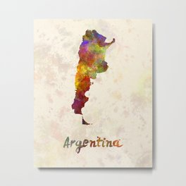 Argentina  in watercolor Metal Print