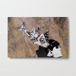Long Gone Whisper II (street art graffiti painting, girl with butterflies) Metal Print