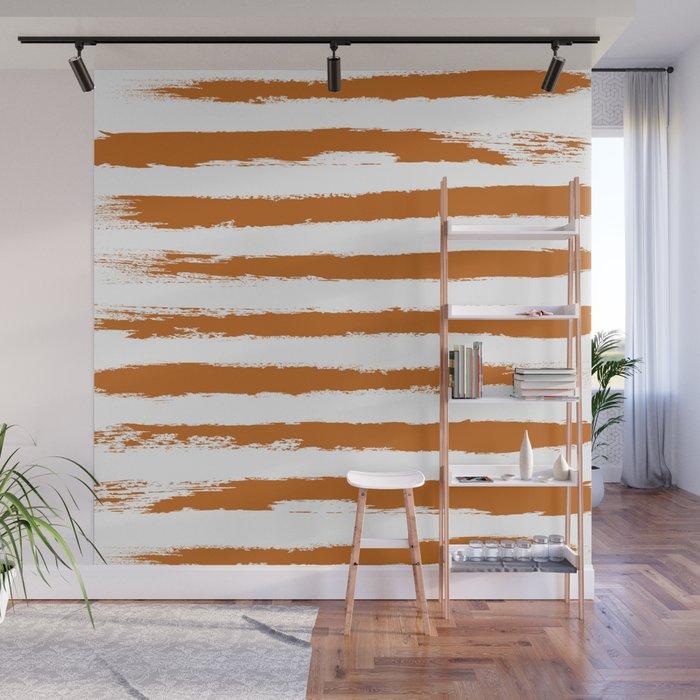 Autumn Maple STRIPES Handpainted Brushstrokes Wall Mural