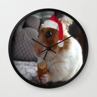 hamster Wall Clocks featuring Christmas Hamster by VHS Photography