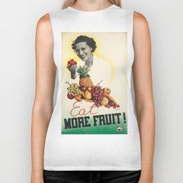 Vintage poster - Eat more fruit Biker Tank