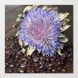 Fresh Coffee Beans & Blue Artichoke Canvas Print