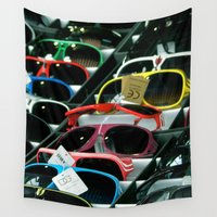 sunglasses Wall Tapestries featuring Sunglasses 101 by Alex DZ