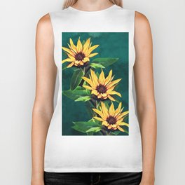 Watercolor sunflowers Biker Tank