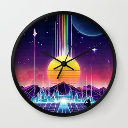 Neon Sunrise Wall Clock