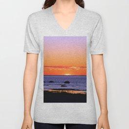 Stunning Seaside Sunset Unisex V-Neck