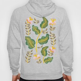 Tropical flowers and banana leaves // Green Pink Yellow Palette Hoody