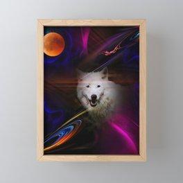 Full moon - Blood moon  fascination wolf Framed Mini Art Print