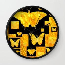 Black & Gold Butterfly Jewelry Design Art. Wall Clock