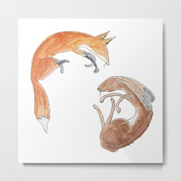 fox and hare Metal Print