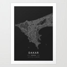 Dakar, Senegal - Dark Map Art Print