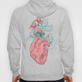 drawing Human heart with flowers Hoody