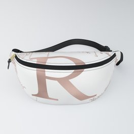Letter R Rose Gold Pink Initial Monogram Fanny Pack