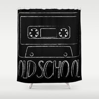 cassette Shower Curtains featuring Cassette - OLDSCHOOL by Ethan Bierly