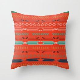 Navajo motifs in red Throw Pillow