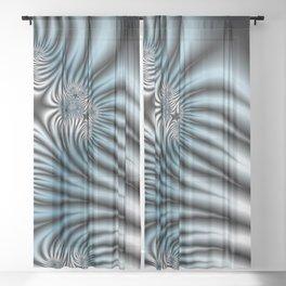 Blue Zebra Fractal Sheer Curtain