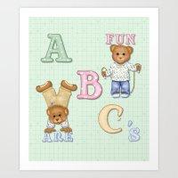 Teddy Bear Alphabet ABC's Green Art Print