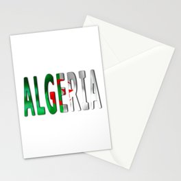 Algeria Word With Flag Texture Stationery Cards