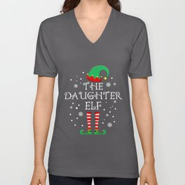 Daughter Elf Matching Family Group Christmas Party Pajama Unisex V-Neck