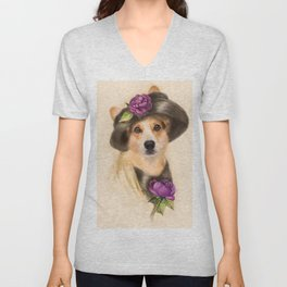 Corgi dog lady Unisex V-Neck
