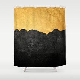 Black Grunge & Gold texture Shower Curtain