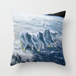 Surfing the Earth Throw Pillow
