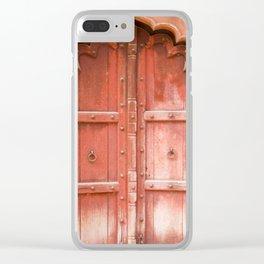 Ancient red wooden door in Agra, Uttar Pradesh, India Clear iPhone Case