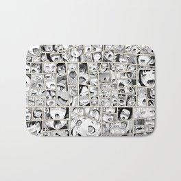 Ahegao Hentai Girls Collage B&W Comic Panels Bath Mat
