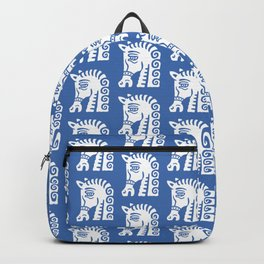 Mid Century Horse Pattern Blue Backpack