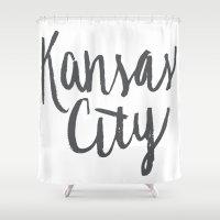 kansas city Shower Curtains featuring Kansas City Brush Lettering by Jonelle Jones