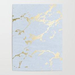 Kintsugi Ceramic Gold on Sky Blue Poster