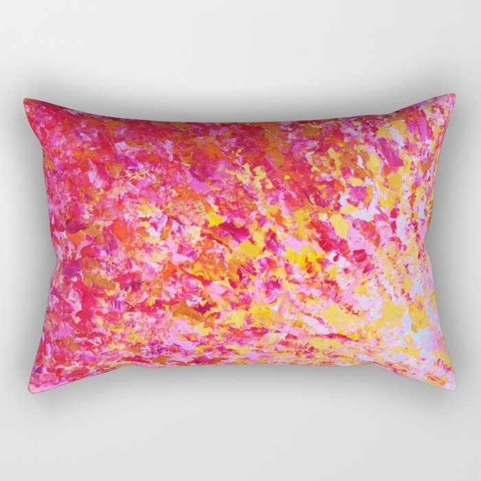 ROMANTIC DAYS - Lovely Sweet Romance, Valentine's Day Sweetheart Pink Red Abstract Acrylic Painting Rectangular Pillow