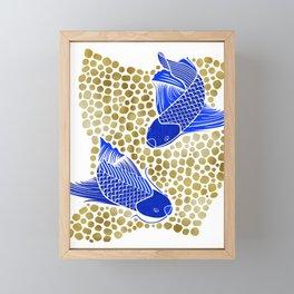 Finn & Finley ~ Blue Koi Fish Gold Background Framed Mini Art Print