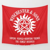 dean winchester Wall Tapestries featuring SUPERNATURAL WINCHESTER AND SONS by thischarmingfan
