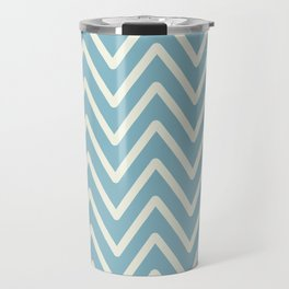 Chevron Wave Blue Petit Four and Glass Green Travel Mug