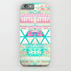 Pink Teal Aztec Pattern Triangles Girly Watercolor iPhone 6 Slim Case