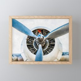 Legendary Vintage Aircraft Engine And Propeller On White Framed Mini Art Print