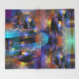 Modern colourful grunge abstract with patterns Throw Blanket
