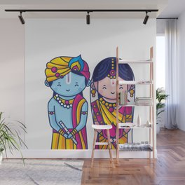 Cute Radha Krishna Wall Mural