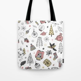 Christmas pattern, winter holiday background. Tote Bag