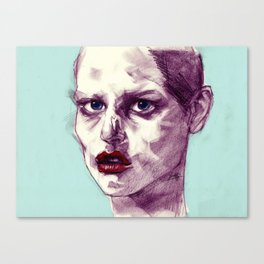 Scary Dirty Face with Red Lips Canvas Print