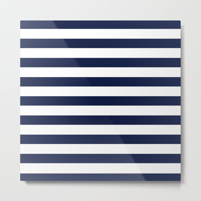 Nautical Navy Blue and White Stripes Metal Print