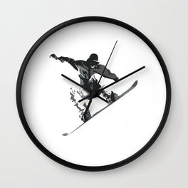 Snowboard Jumping Cartoon Wall Clock