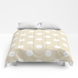 Polka Dots - White on Pearl Brown Comforters