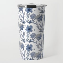 Chambray Flower Pattern Travel Mug