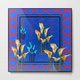 white Calla Lilies Blue & Red Pattern Art Metal Print